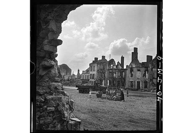 Refugees in Montebourg, Manche, Normandy, France on July 24, 1944.