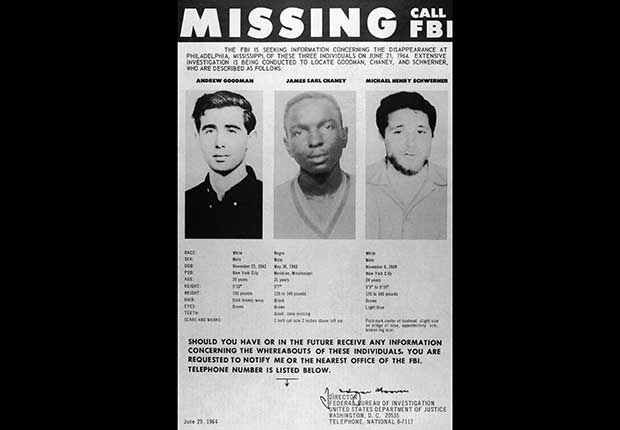 FBI Missing poster showing images of three activists: Andrew Goodman, James Chaney and Michael Schwerner