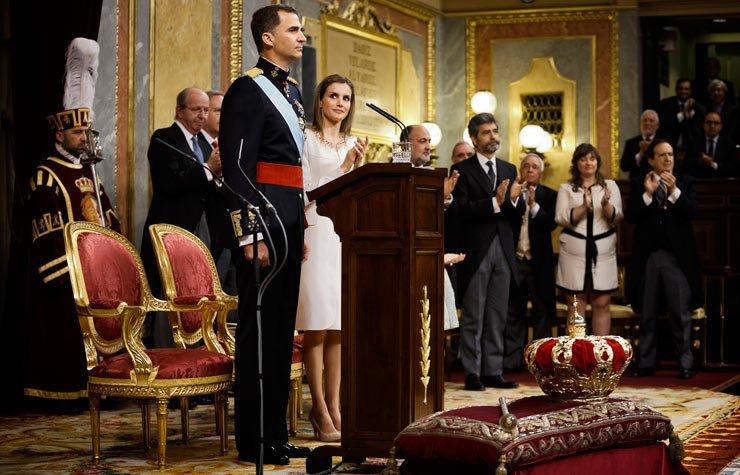 El Rey de España Felipe con su esposa, la princesa Letizia