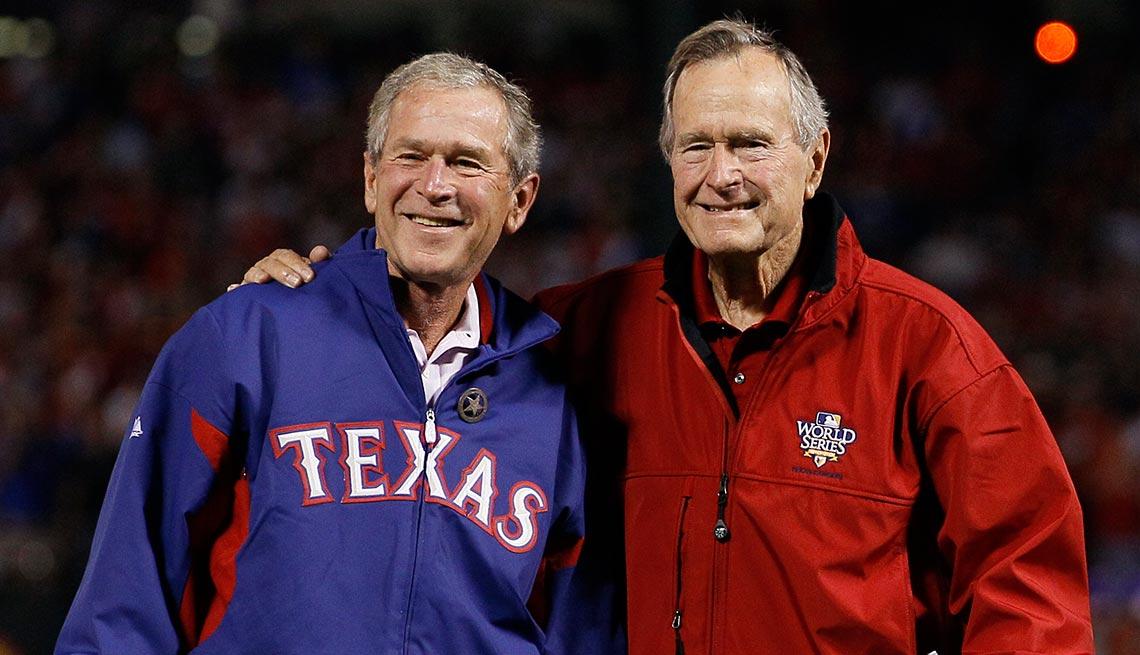 Former Presidents George W. Bush, George H.W. Bush, baseball game, new Bush biography