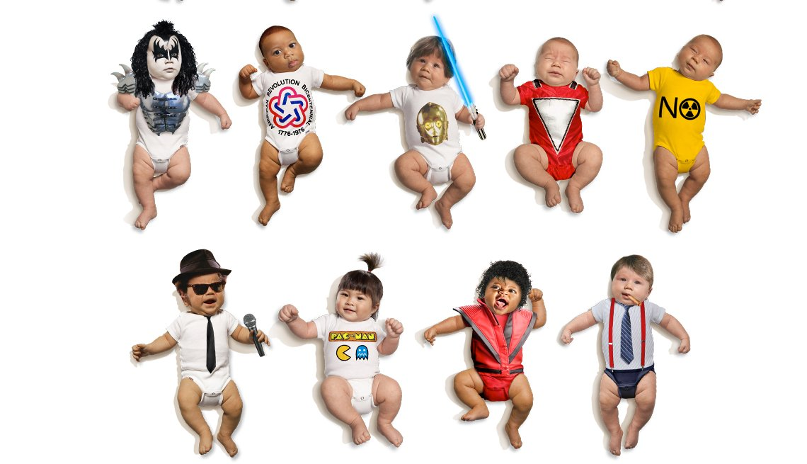 Babies dressed as pop cultural icons, Last Baby Boomers, turn 50