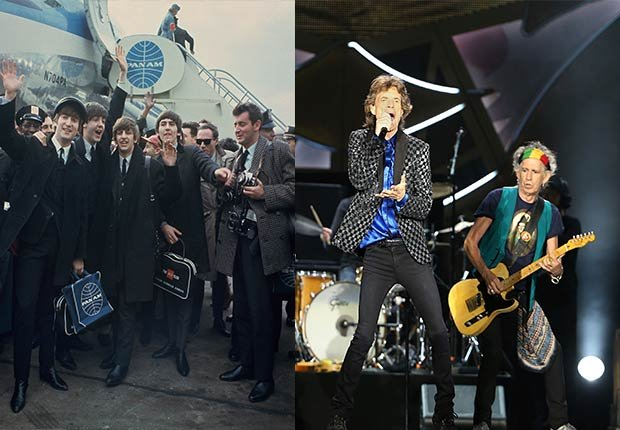 The Beatles wave to crowd at airport. Rolling Stones performing on stage, 2014/2015 Out/In List