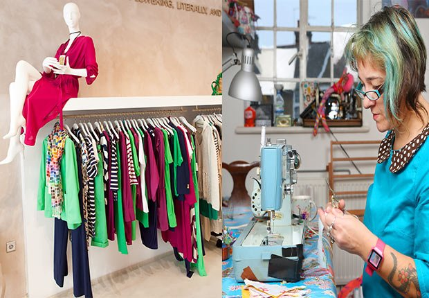 Designer clothing store for women. Woman sitting and hand sewing etsy, 2014/2015 Out/In List