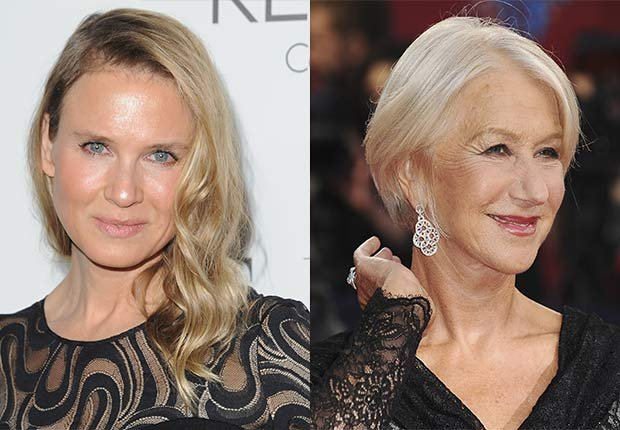 Close up of Renee Zellweger. Helen Mirren at movie premiere, 2014/2015 Out/In List
