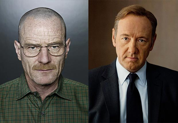 Portrait of Bryan Cranston as Walter White Breaking Bad. Portrait of Kevin Spacey as Frank Underwood, 2014/2015 Out/In List
