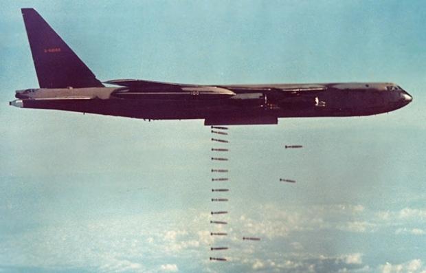 Strategic Air Command B-52 bomber during Vietnam war Christmas bombings of Hanoi