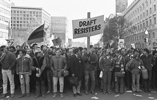 Draft resisters march at a demonstration organized by the National Mobilization Committee to End the War in Vietnam, Washington DC, November 15, 1969.