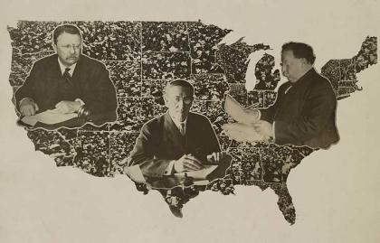 Mapa de los Estados Unidos de la campaña presidencial de 1912 en la que Woodrow Wilson, Theodore Roosevelt, William Taft y Eugene V. Debs lanzaron su candidatura