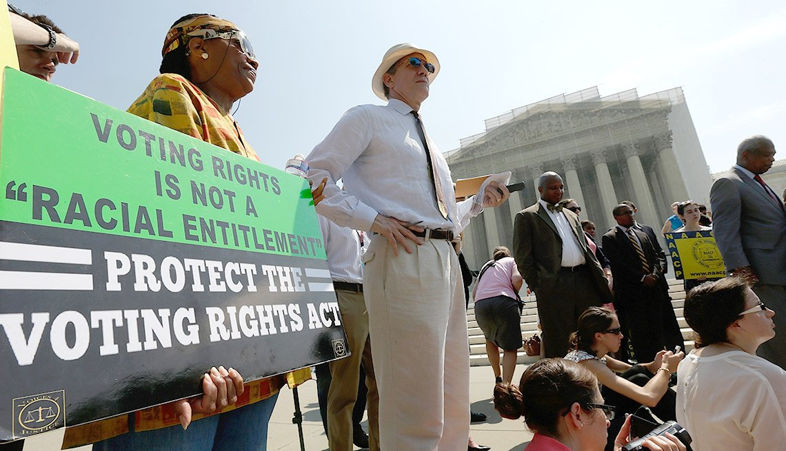 The Supreme Court strikes down Voting Rights Act in June 2013, crowd outside Supreme Court, Washington, D.C.
