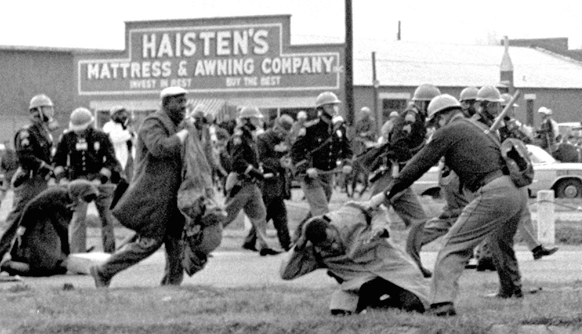 Voting Rights Act of 1965, state troopers attack peaceful marchers, Selma, Ala., March 7, 1965,