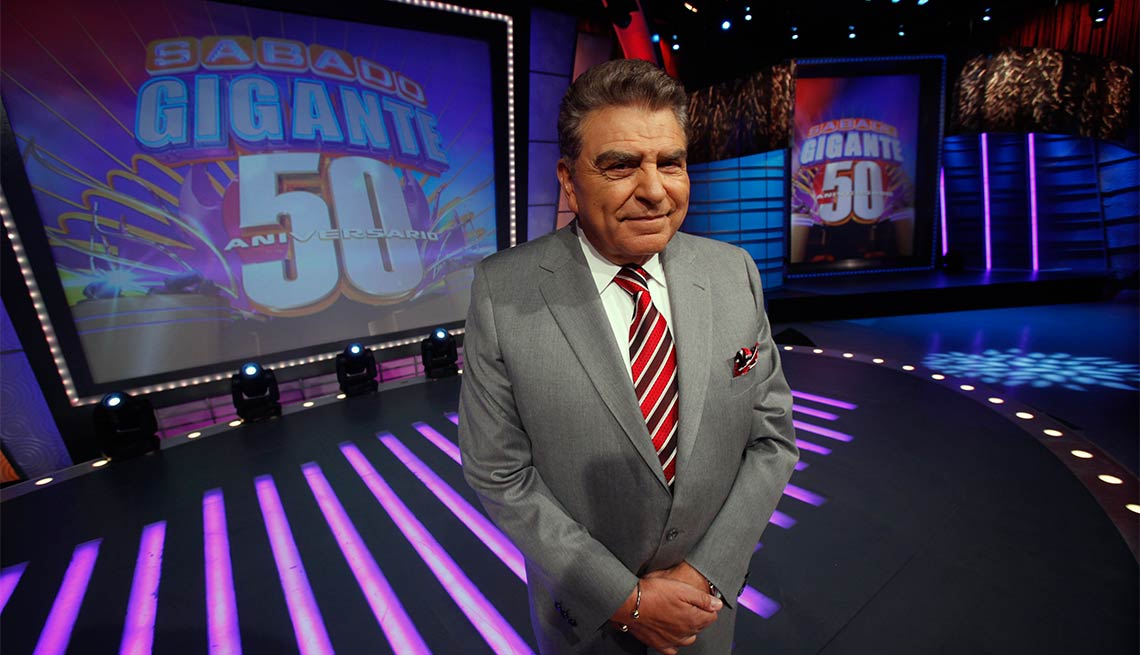 """Don Francisco, host of the Univision network variety show """"Sabado Gigante,"""" poses on the set of his show in Miami, Q & A"""