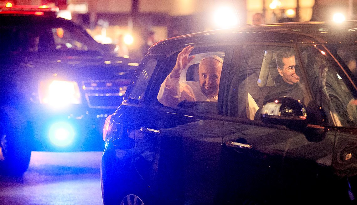 Pope Francis waves from Fiat, New York