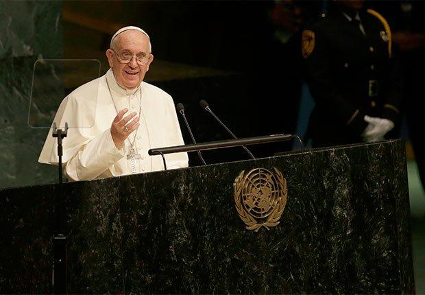 Papa Francisco en su discurso en la ONU. Nueva York