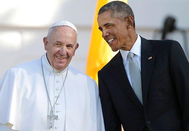 Papa Francisco junto al presidente de Estados Unidos, Barack Obama