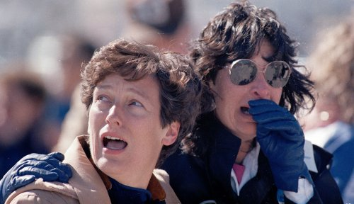 Image result for space shuttle challenger explodes, watching people