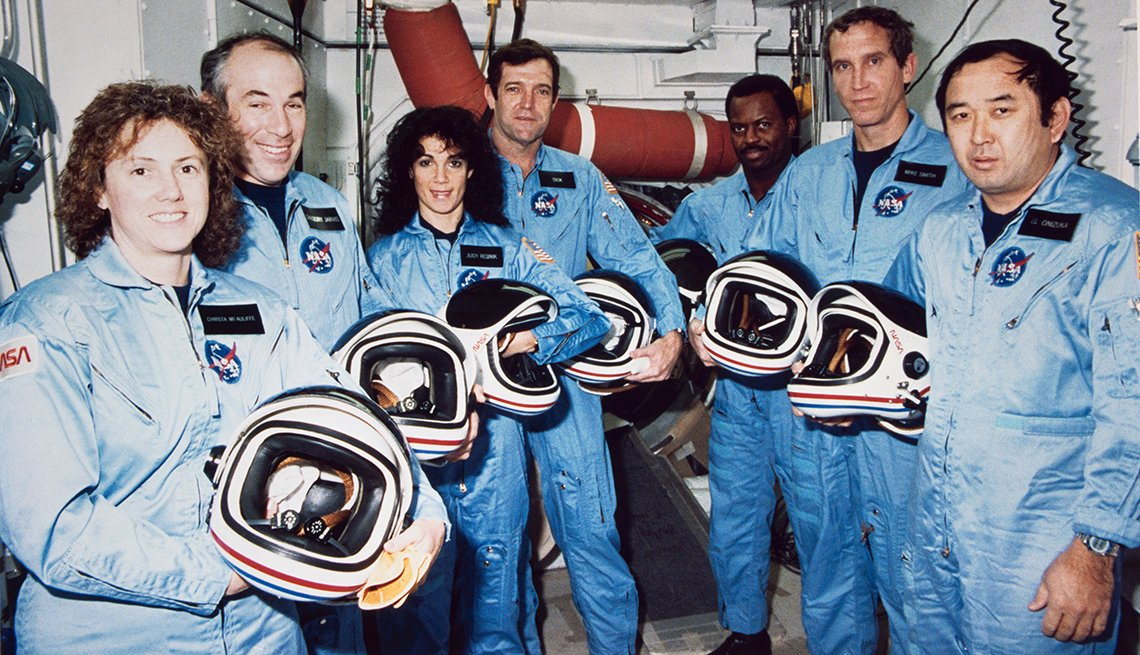 The Challenger crew takes a break during countdown training at NASA's Kennedy Space Center. Left to right are Christa McAuliffe; Gregory Jarvis; Judith A. Resnik; Francis R. (Dick) Scobee, mission commander; Ronald E. McNair; Mike J. Smith; and Ellison S. Onizuka.