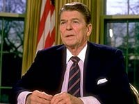 President Ronald Reagan addressing the nation from the White House, re explosion of the space shuttle Challenger.
