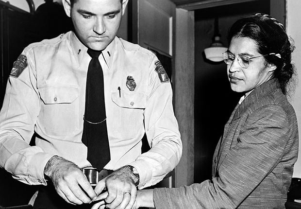 Mrs Rosa Parks, a seamstress, being fingerprinted after her refusal to move to the back of a bus to accommodate a white passenger touched off the bus boycott, Montgomery, Alabama, 1956.