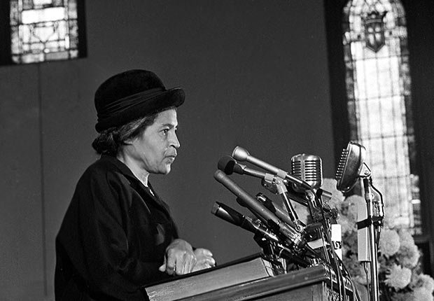 Rosa Parks speaks at Ebenezer Baptist Church in Atlanta, Ga., Jan. 15, 1969.