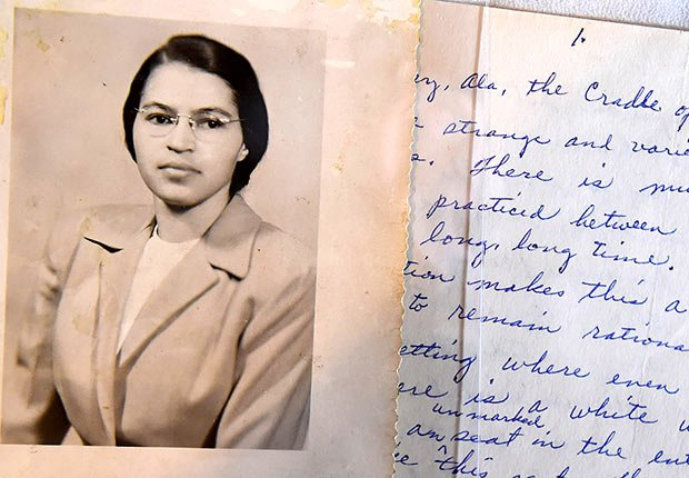 A photo and a hand written page that is part of a Rosa Parks archive