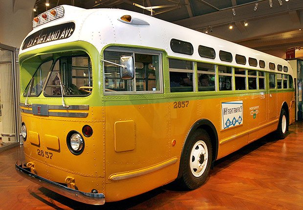 Civil rights legend Rosa Parks was arrested aboard this Montgomery, Alabama, bus which is now at the The Henry Ford Museum