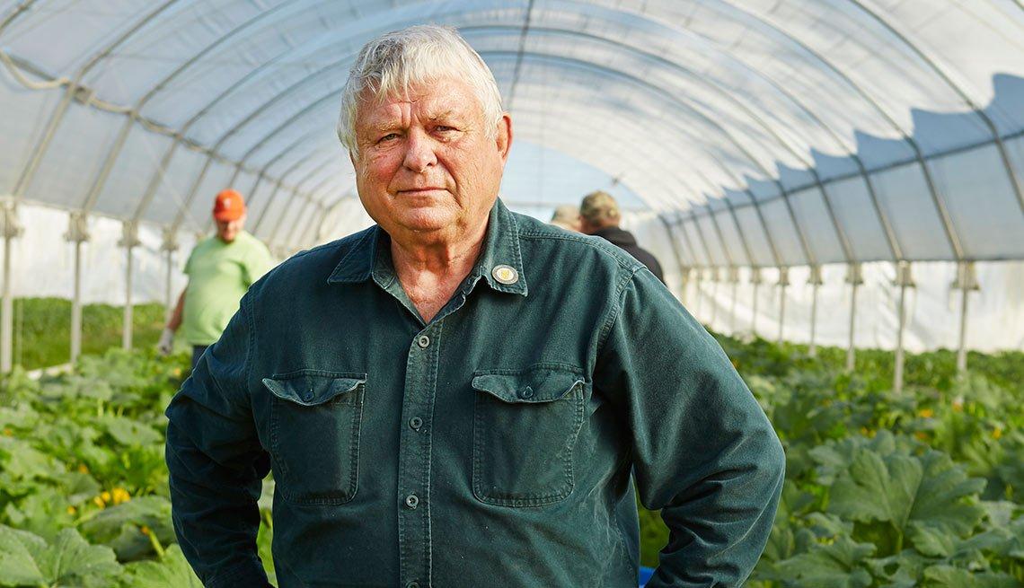 Boomers at 70, Don Chamberlain at a harvest at Seay Organics Farm