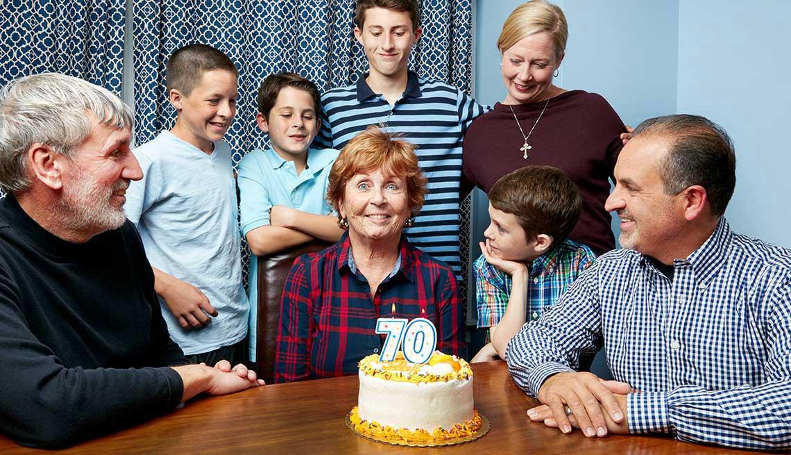 Boomers At 70, Kathleen Casey-Kirschling, birthday cake, family