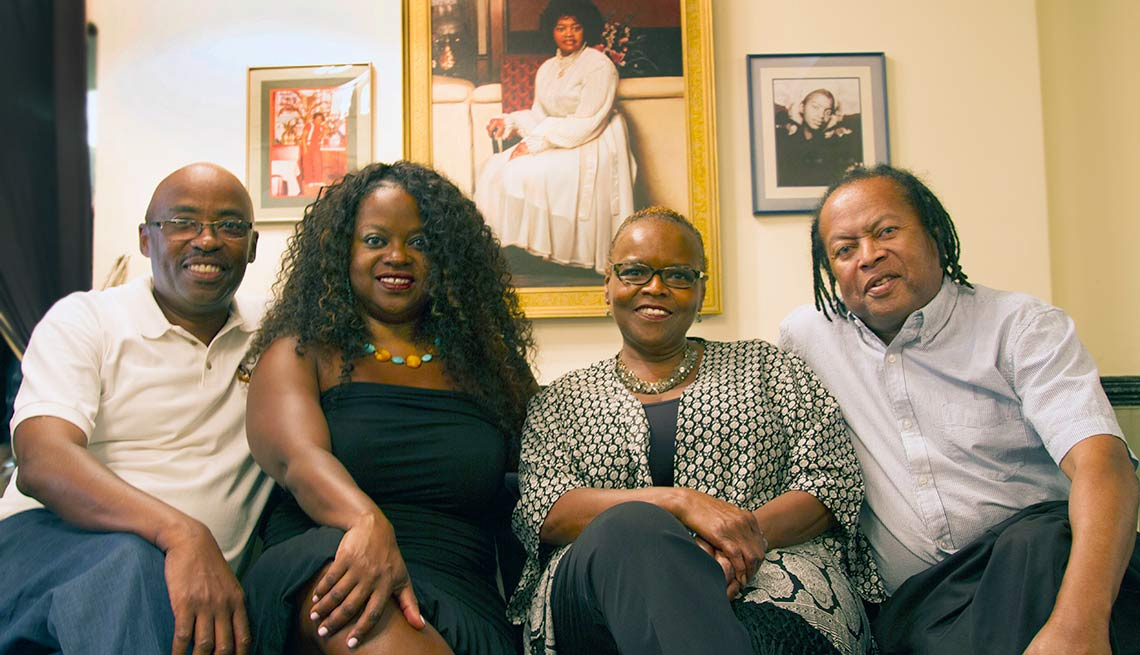 Sylvia Woods and children Van, Bedelia, Kenneth and Crizette of Sylvia's, Harlem, N.Y.