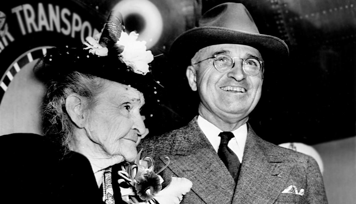 President Harry Truman with his mother, Martha Truman.