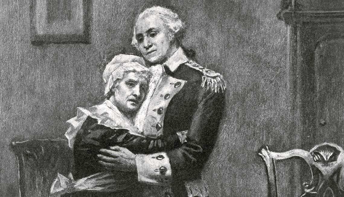 George Washington and His Mother, Mary Ball Washington Embracing