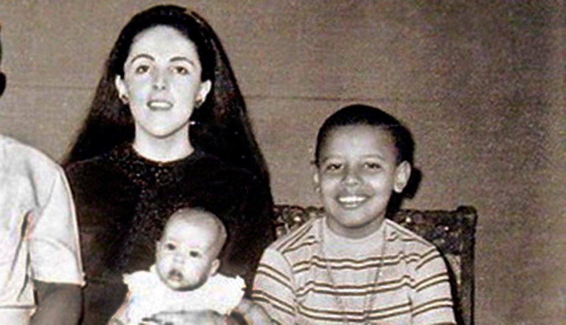 Barack Obama, at age 9, with mother Ann Dunham