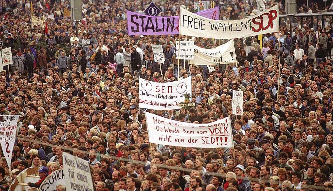 Manisfestantes a favor del cambio político en Alemania