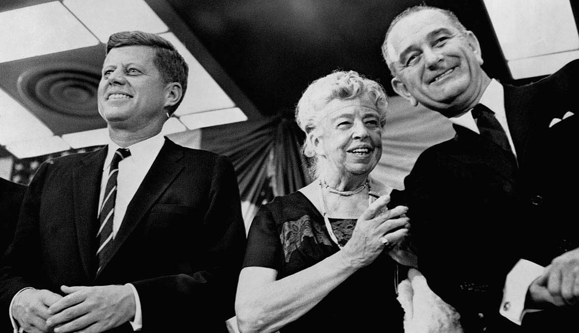 Eleanor Roosevelt, the former first lady and widow of Franklin D. Roosevelt, appears at a New York rally to support Kennedy and his running mate, Lyndon B. Johnson.