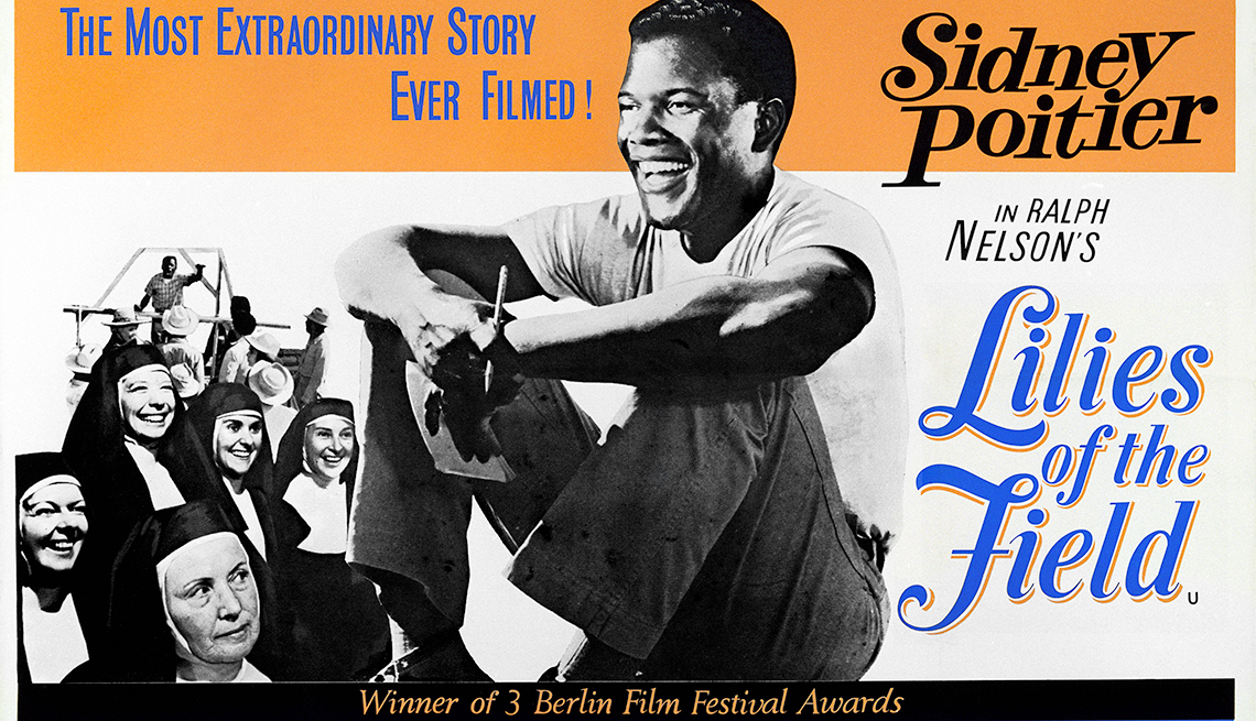 Cartel promocional de Lilies of the Field, protagonizada por Sidney Poitier
