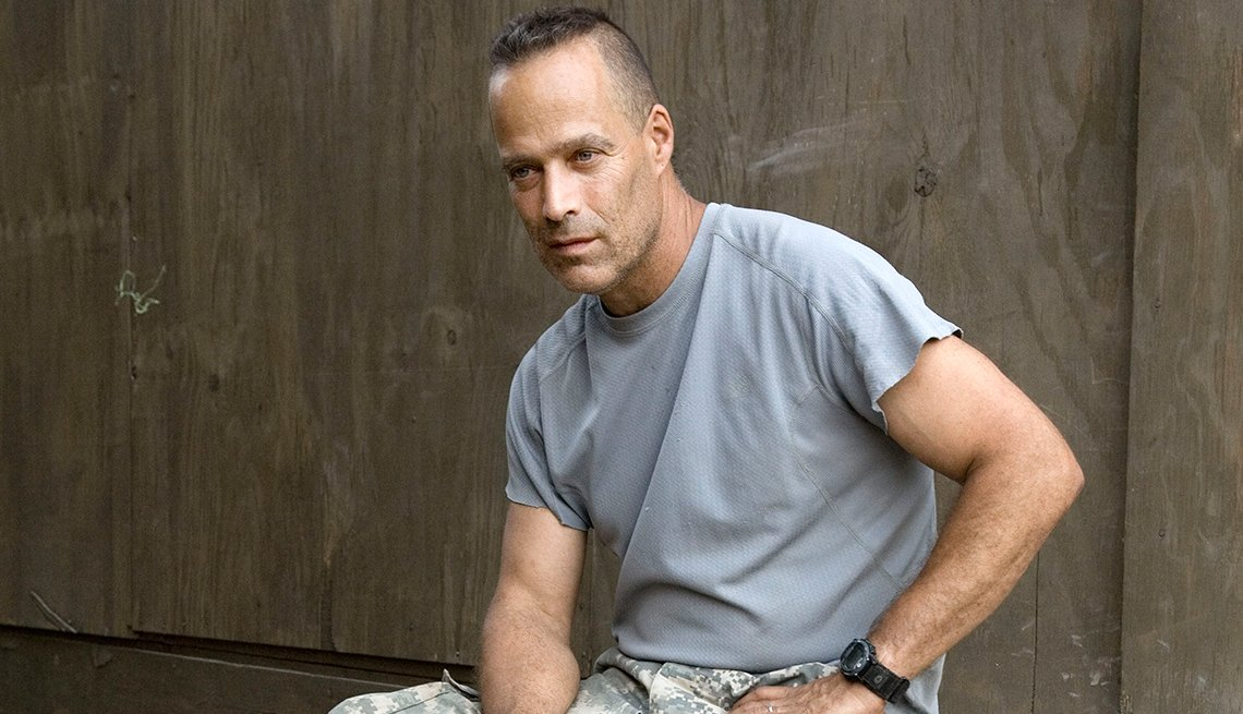 Writer Sebastian Junger outside the 2nd Platoon hootch in the main Korengal fire base Korengal Valley, Kunar Province. July 2008.