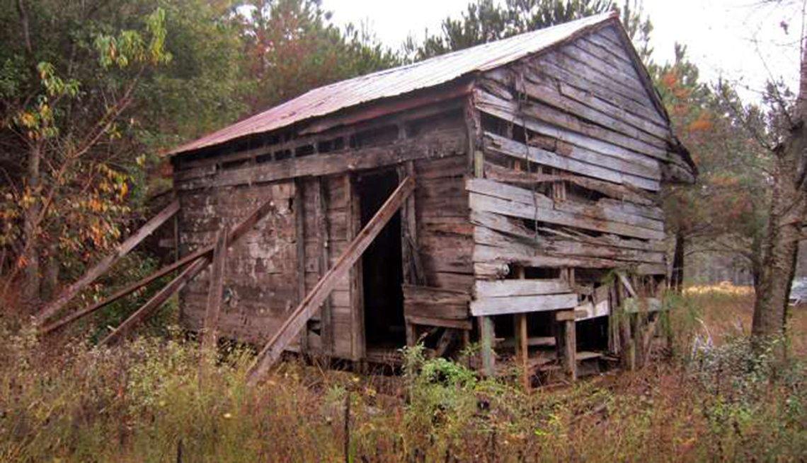 Cabaña para esclavos, usada a principios de los años 1800