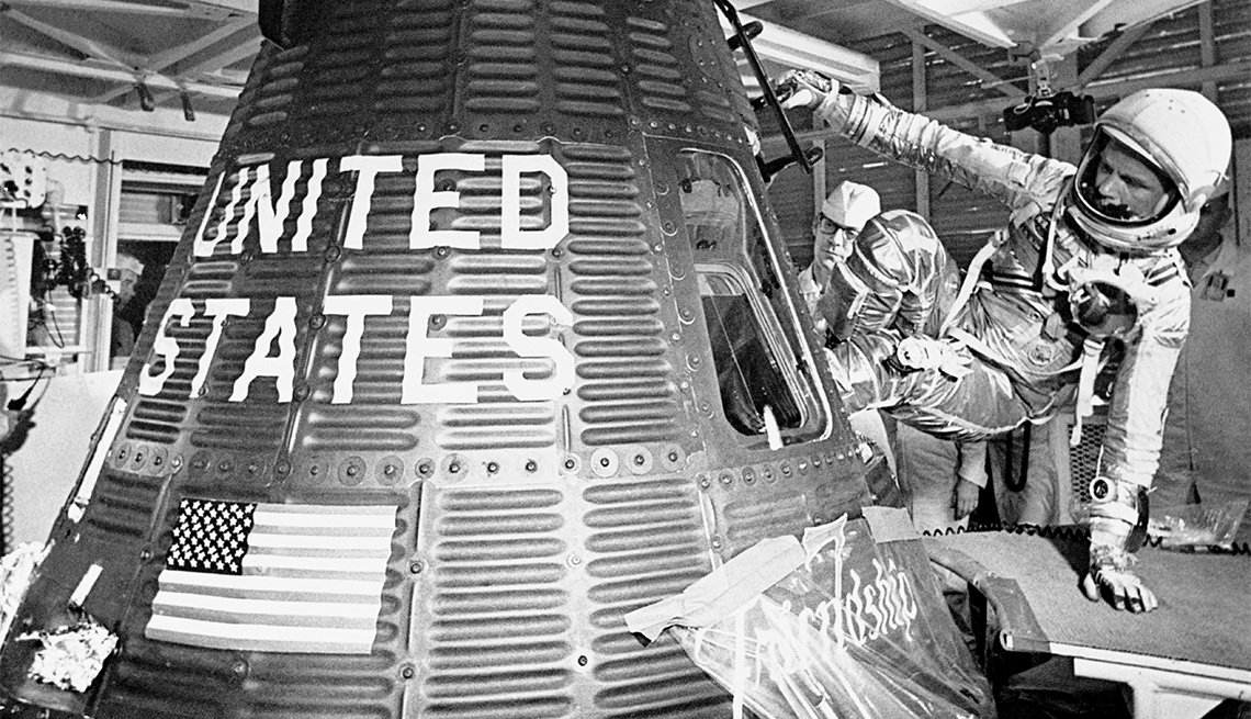 John Glenn boards the Friendship 7 capsule to become the first American to orbit the earth