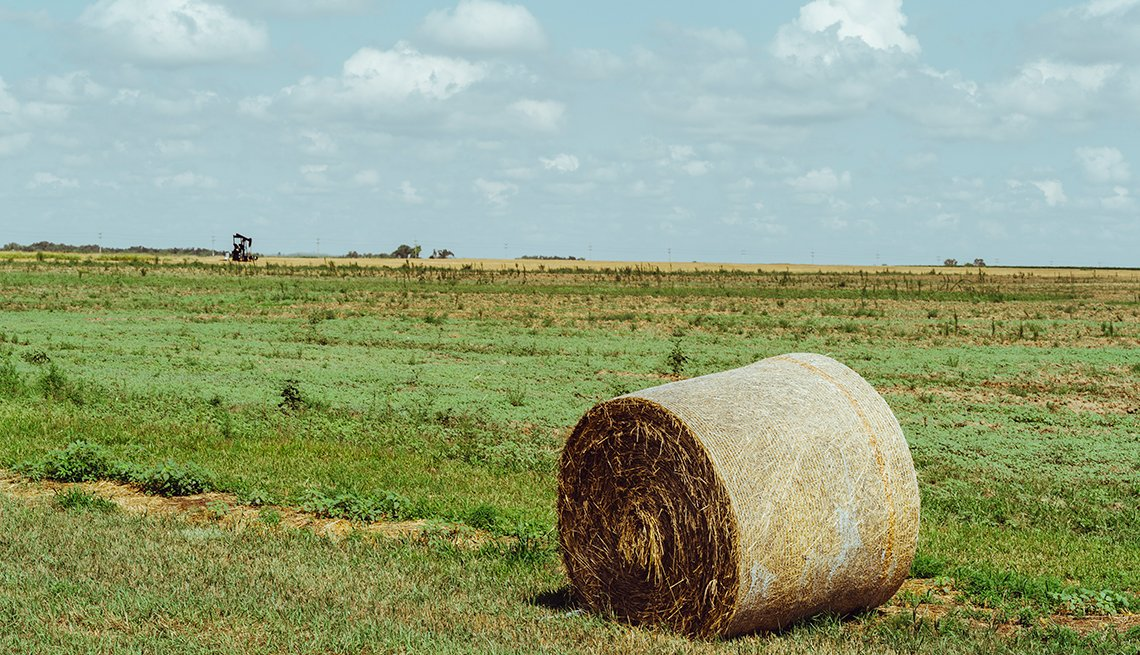 Nicodemus homecoming family reunion - Hay bail on Kansas Highway 24