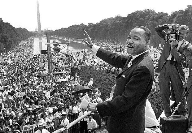 Martin Luther King Jr. en su famoso discurso en Washington, D.C.