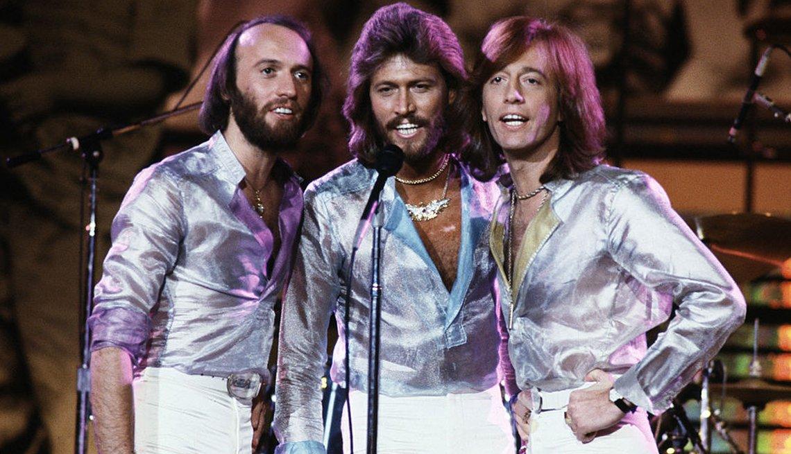 Iconos de la música disco, retrato de los Bee Gees.
