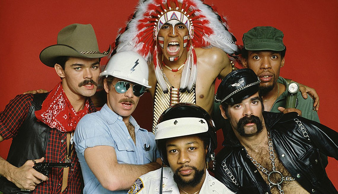 Iconos de la música disco, retrato de The Village People.