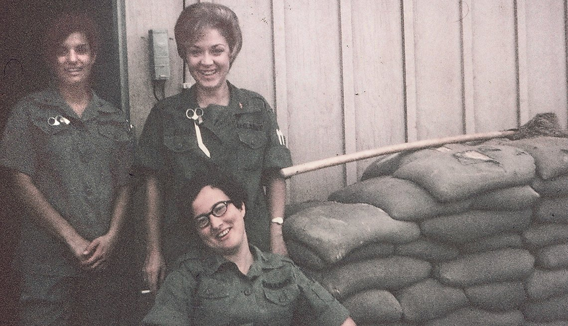 Edie Meeks,  Nurses Pose with Sandbags, Three Smiling Women, Vietnam: The War That Changed Everything