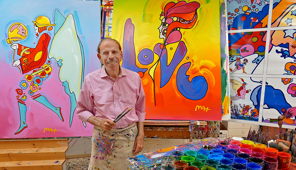 Artist Peter Max in his Studio