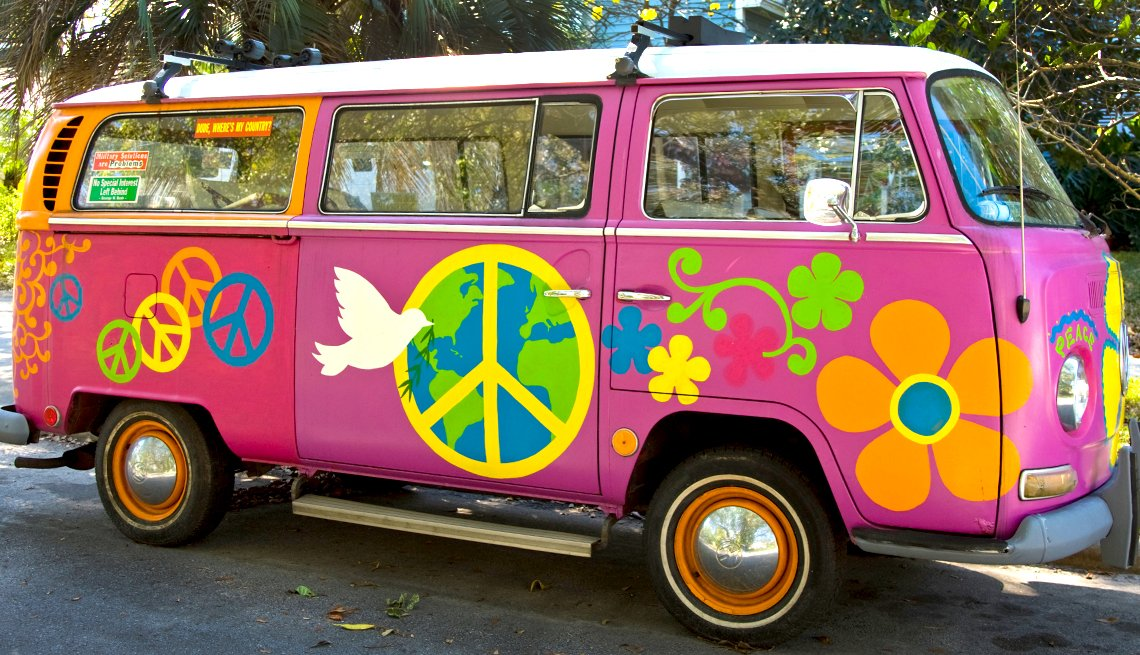 item 1, Gallery image. Summer of Love then Volkswagen minibus