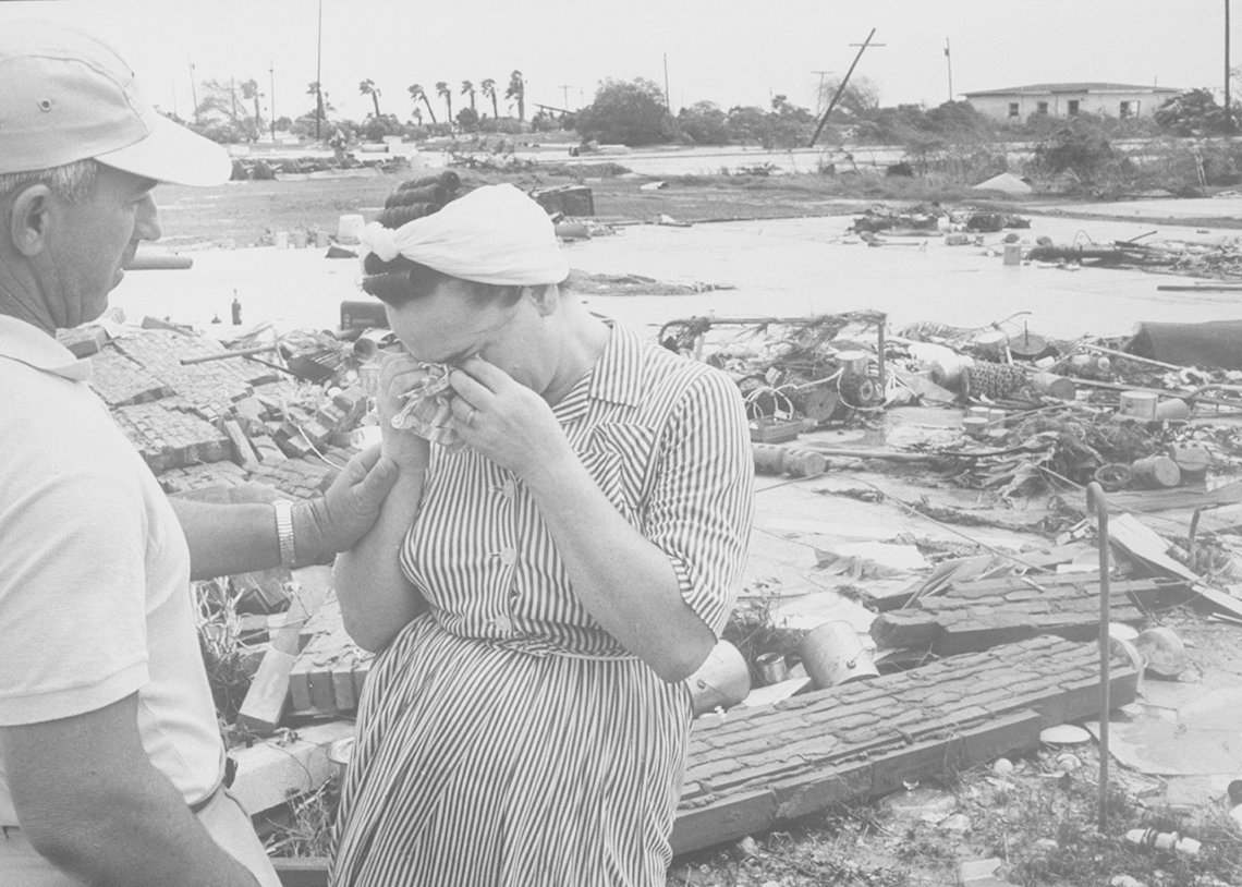Hurricane Carla, Woman Cries In Wreckage