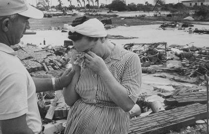 Víctimas del huracán Carla en la costa de Texas, 1971