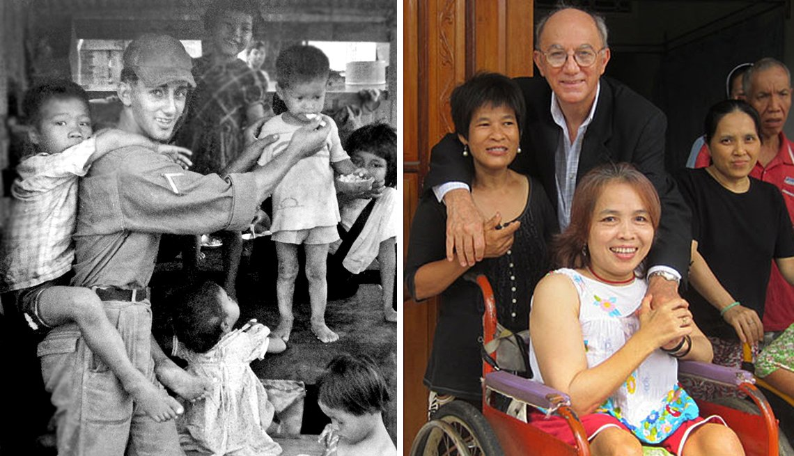 item 4, Gallery image. Billy Terrell at the Mang Lang orphanage in 1966, and at the same orphanage in 2013.