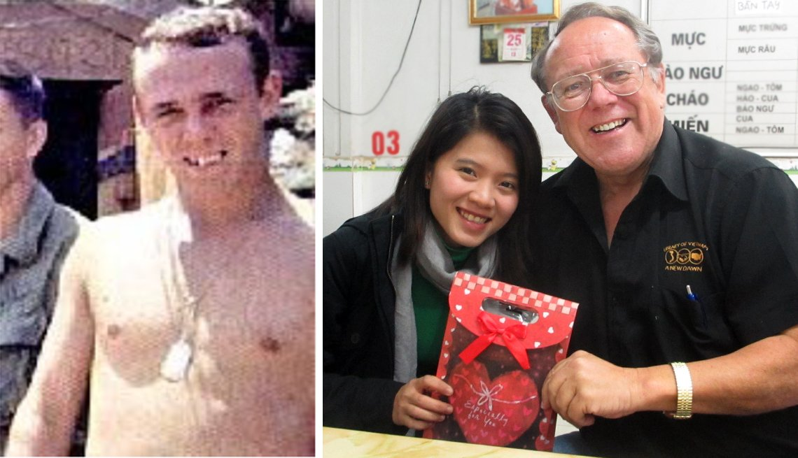 "item 2, Gallery image. Francis J. ""Chuck"" Theusch in 1970, and with a Vietnamese friend in Hanoi on Christmas in 2012."