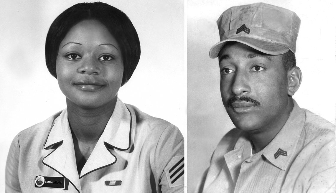 item 3, Gallery image. Londia Granger Wright in 1976, and husband George Wright in 1960, before his Vietnam duty.