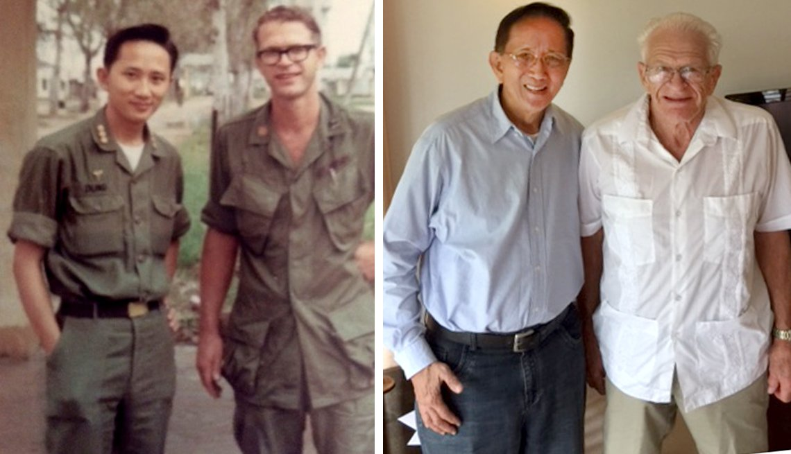 item 6, Gallery image. Dr. Le Ngoc Dung and Lyle Wacaser Vietnam 1967, and Dr. Dung and Lyle Wacaser today.